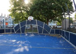 Active landscapes playground equipment East London Heavy duty Muga on polymeric sports surface with line markings