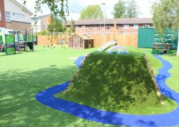 Plaistow Primary Early Years redevelopment, drainage, leveling, landforms, traditional play, sand shed and synthetic grass2