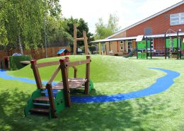 Plaistow Primary Early Years redevelopment, drainage, leveling, landforms, traditional play, sand shed and synthetic grass4